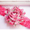 Floral Pink White Toddler Baby Girl Headband - Shabby Chiffon - Zara BB