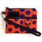 Wristlet Pouch Purse in Purple Spots and Stag Echino Fabric Handmade