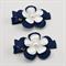 School Hair Clips - Navy & White Flowers