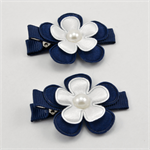 School Hair Clips - Navy & White Flowers