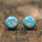 Bright blue and copper flake polymer clay earrings