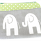 Makeup Bag - Makeup Pouch - Elephants - Grey White Green