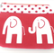 Makeup Purse - Makeup Pouch - Elephants - Red & White -