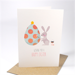 Happy Easter Card - Rabbit painting egg - EAS007