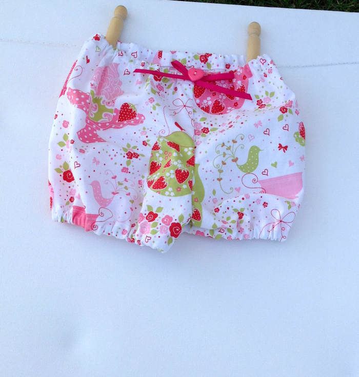 Strawberry Tea Party Baby Shorties Bloomers with ...