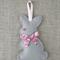 Lavender bunny, sachet, grey, pink, rabbit, felt, Liberty bow