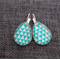 Turquoise & White Triscape ~ Teardrop Lever Back Earrings