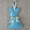 Lavender bunny, sachet, deep teal green, rabbit, felt, Liberty bow, easter