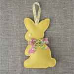 Lavender bunny, sachet, yellow, rabbit, felt, Liberty bow
