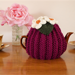 Magenta 6 Cup Tea Cosy with white flowers