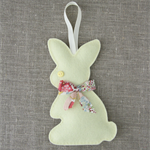 Lavender bunny, sachet, pastel lemon yellow, rabbit, felt, Liberty bow