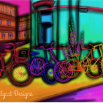 Bright Bicycle Party Print  original art