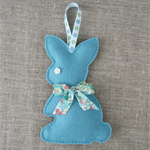 Lavender bunny, sachet, deep teal green, rabbit, felt, Liberty bow, easter
