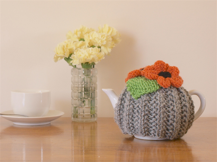 Free Knitting Pattern For 2 Cup Tea Cosy : Grey 2 Cup Tea Cosy with Orange Flowers Teapot Therapy ...
