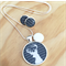 Navy Blue and White Deer Resin Silver Necklace and Earrings