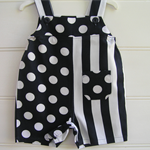 Navy and white short overalls, spots and stripes, unisex play clothes.