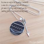 Aztec Arrow Pendant Resin Silver Necklace