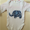 White onesie with Blue Floral Elephant