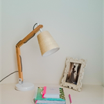 Wooden desktop with twine lampshade