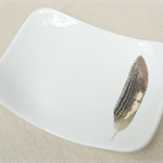 Porcelain bowl with gold feather. Soap dish, jewellery holder, ceramic bowl.