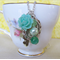 Mr Darcy Charm Necklace Green Glass Pearls Beaded Jane Austen Vintage Key Boho