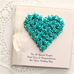 Personalised Wedding card keepsake boxed roses heart turquoise bride groom