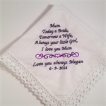Hanky Mother of the Bride/Father of the Bride Hankie/Handkerchief wedding