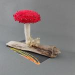 Red Needle Felted Mushroom
