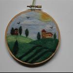 Wool needle felted Tuscany scene set in an 11cm diametre embroidery hoop