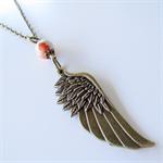 Boho Angel Wing Long Brass Necklace