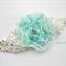Blue ruffled chiffon flower stretch headband