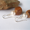 Swarovski White pearls, Wood, Sterling Silver, dangle earring