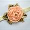 Peach chiffon flower stretch headband