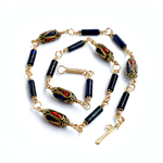 Lapis Lazuli and Coral Statement Necklace with Mosaic Beads from Nepal