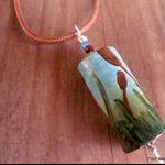 Bullrushes, painted wood pendant, necklace, art, landscape, necklace