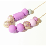 Polymer Clay Beaded Necklace, Fancy, Sparkle, rose gold chain