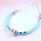 Mint rope statement necklace swarovski crystals pink aqua