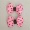 Baby / girls set of pink and brown polka dot grosgrain ribbon bows