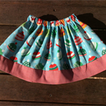 Winter print and red gingham elastic waist skirt - size 2