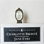 Jane Eyre Bookmark Charlotte Bronte Upcycled Brass Brown Book Clip
