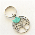 Tree and Mint Bird Keyring