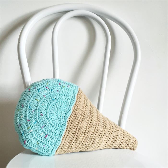 Crochet Blue Ice Cream Cushion