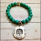 Personalised Names Turquoise Bead Bracelet with Disc or Family Tree Charm