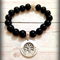 Personalised Hand Stamped Family Tree Black Bead Bracelet
