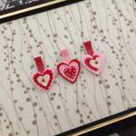 """Imogen"" ~ set of three pink red cream sweet hair clips trio Valentine's Day"
