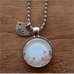 Glass Pendant on Antique Silver Ball Chain Necklace with Bird Charm