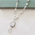 Atticus Finch Watch Necklace Vintage White Pearl Crystal Clear Silver
