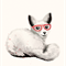 Little Fox with Red Glasses Art Print
