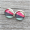 Glass dome stud earrings - Green, grey, pink, white