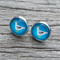 Glass dome stud earrings - Seagull